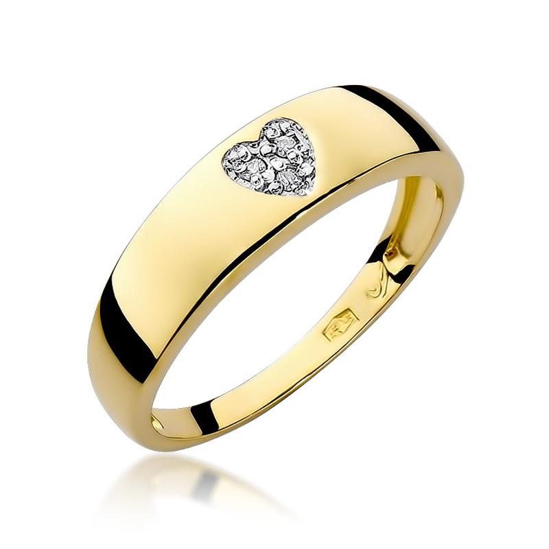 Pierścionek w formie obrączki z serduszkiem z brylantów złoto pr.0,585