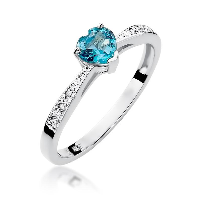 Pierścionek zaręczynowy z cudownym topazem błękitnym i brylantami zaręczyny zloto bałe pr.0,585