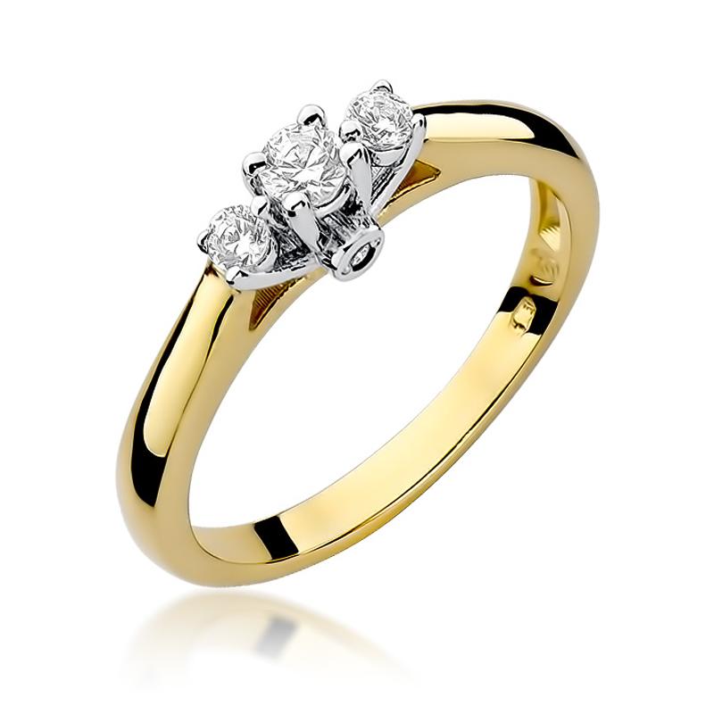 Pierścionek zaręczynowy ze złota pr.0,585 z brylantami