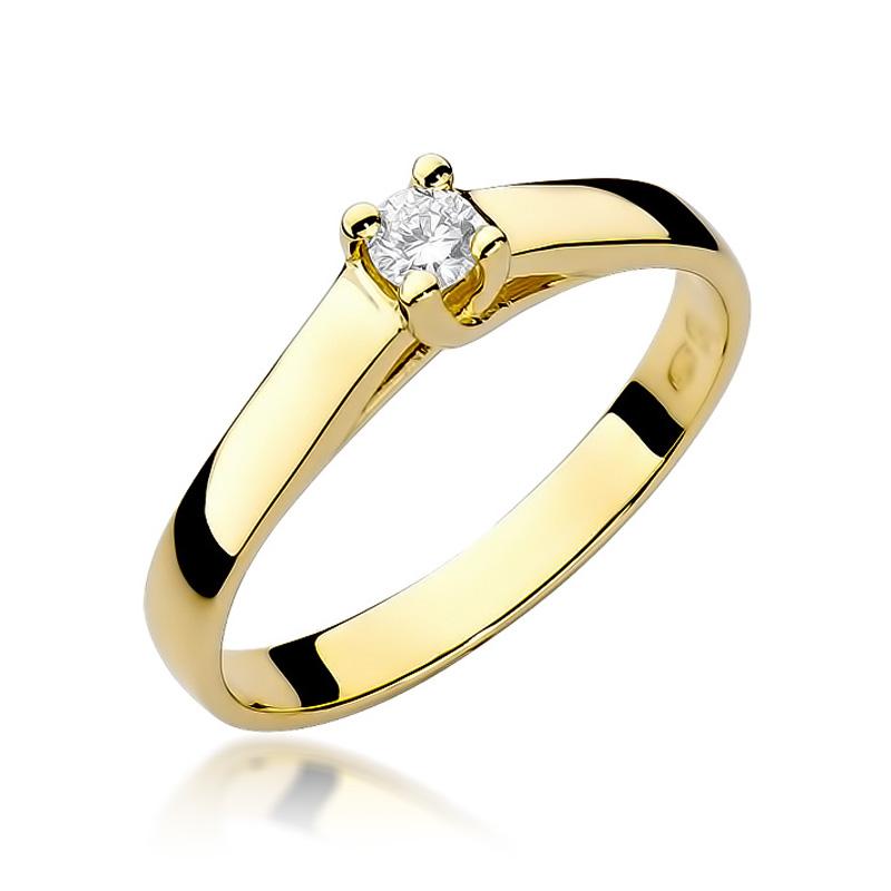 Pierścionek ze złota pr.0,585 z brylantem na zaręczyny