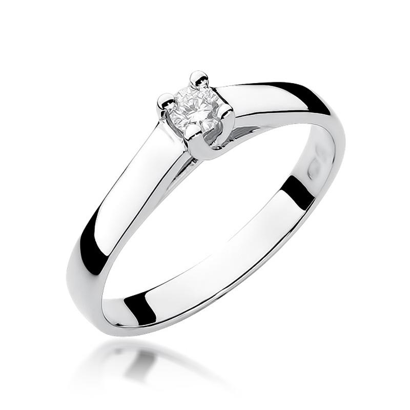 Pierścionek zaręczynowy z białego złota pr.0,585 z brylantem