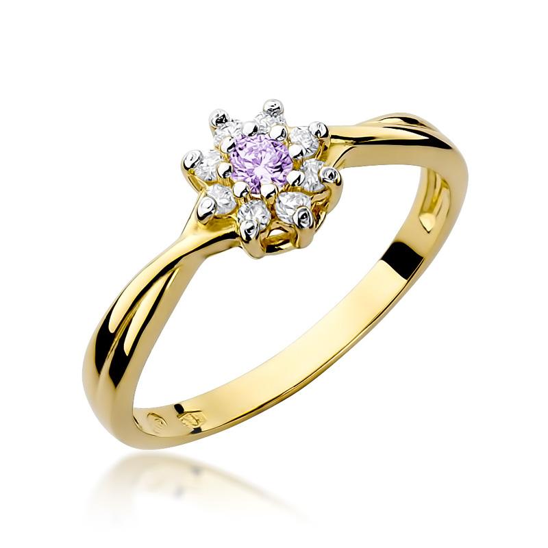 Pierścionek ze złota pr.0,585 na zaręczyny z brylantami i ametystem