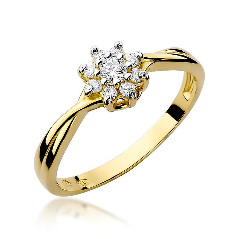 Złoty pierścionek na zaręczyny markiza z brylantami