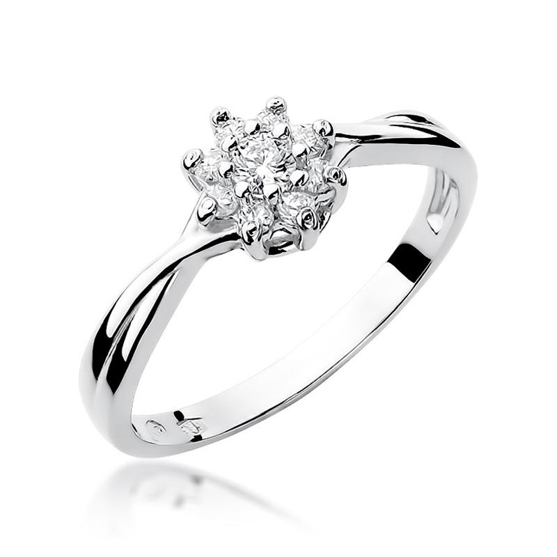 Złoty pierścionek na zaręczyny markiza z brylantami białe złoto pr.0,585