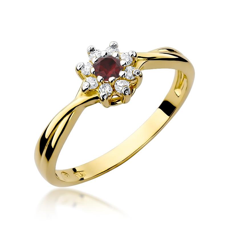 Pierścionek ze złota pr.0,585 na zaręczyny z brylantami i rubinem