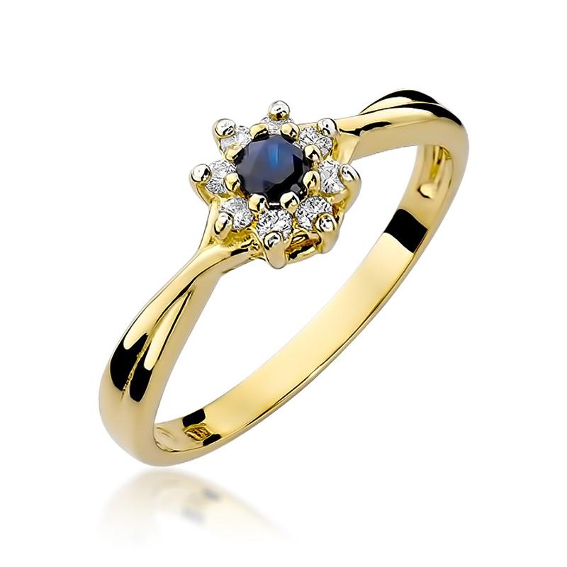Pierścionek ze złota pr.0,585 na zaręczyny z brylantami i szafirem