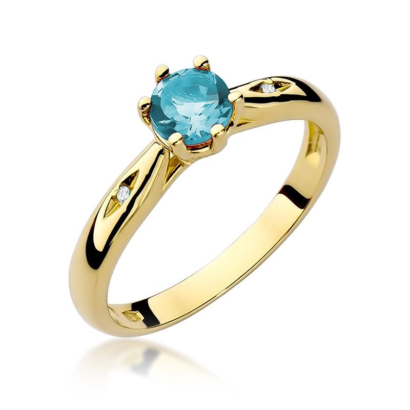 Złoty pierścionek pr.0,585 na zaręczyny z topazem błękitnym