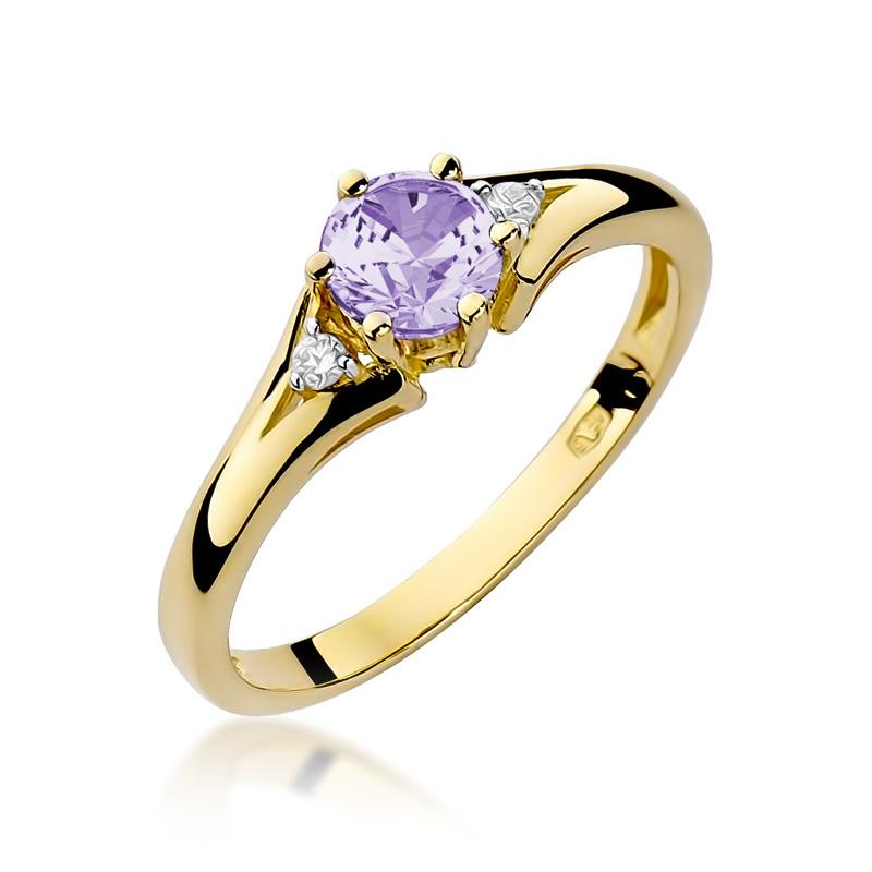 Złoty pierścionek zaręczynowy z ametystem i brylantami