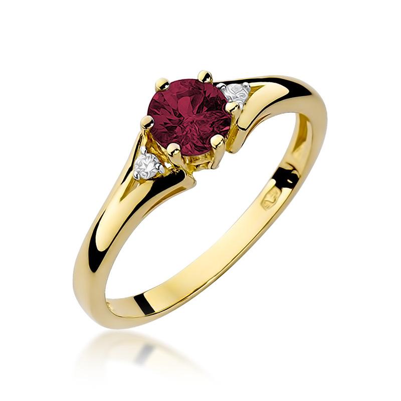 Pierścionek z klasycznego złota pr.0,585 z rubinem i brylantami