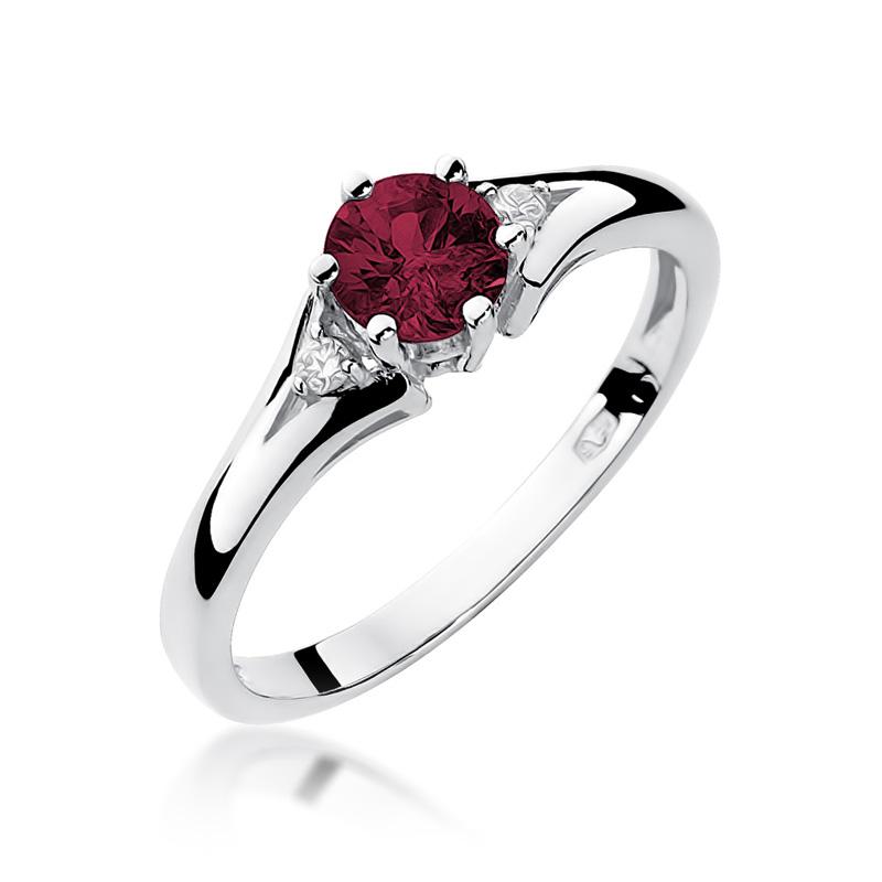 Pierścionek na zaręczyny z białego złota pr.0,585 rubin brylanty