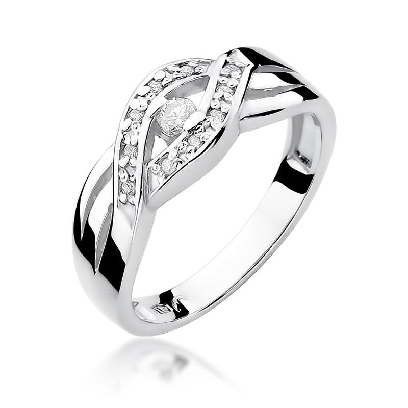 Przepiękny pierścionek z białego złota pleciona obrączka pr.0,585 z brylantami