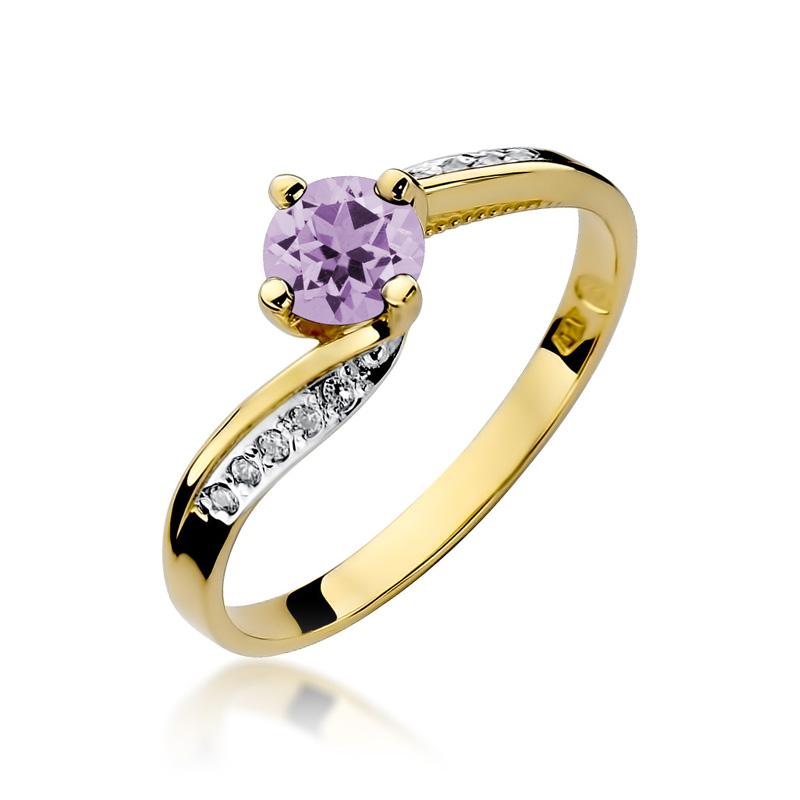 Złoty pierścionek pr.0,585 z ametystem i brylantami na zaręczyny