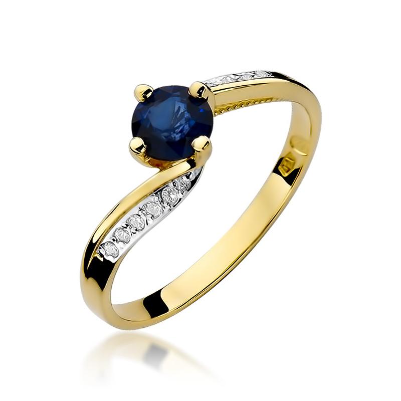 Pierścionek zaręczynowy z klasycznego złota pr.0,585 z szafirem i brylantami