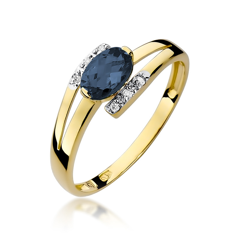 Piękny pierścionek zaręczynowy złoto pr.0,585 z szafirem i brylantami