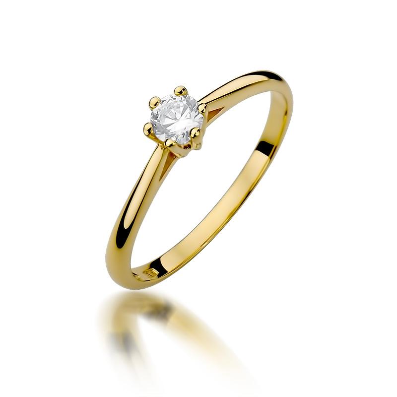 Klasyczny pierścionek ze złota pr.0,585 z brylantem zaręczyny