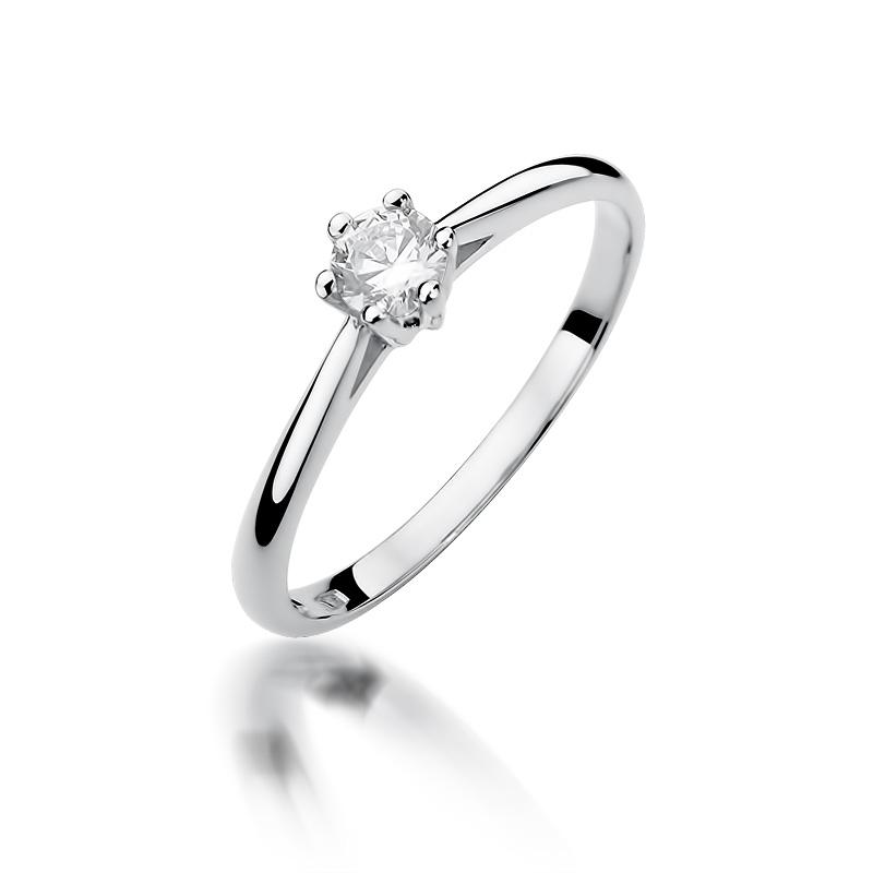 Zaręczynowy pierścionek z białego złota pr.0,585 z brylantem