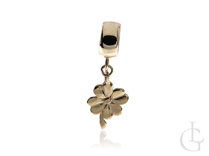 Wisiorek złoty pr.0,585 przywieszka do bransoletki, łańcuszka charms, beads koniczynka