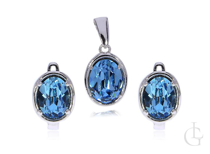 Srebrny komplet biżuterii niebieski kamień kolczyki zawieszka na łańcuszek