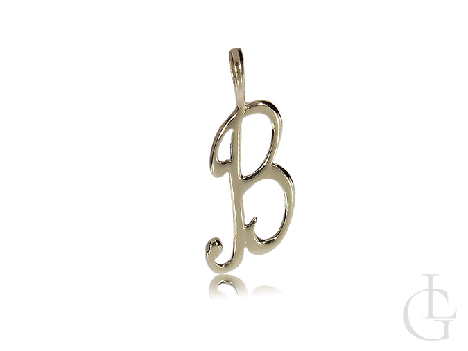 Zawieszka złota na łańcuszek literka inicjał B, Bożena, Bogusia