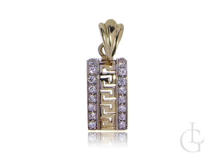 Wisiorek ze złota pr.0,585 z greckim wzorem i cyrkoniami