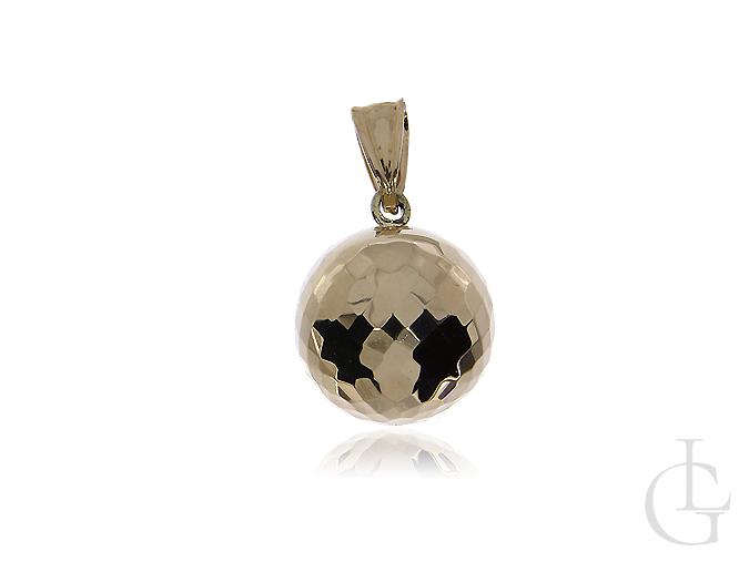 Złota przywieszka pr.0,585 diamentowana kulka na prezent