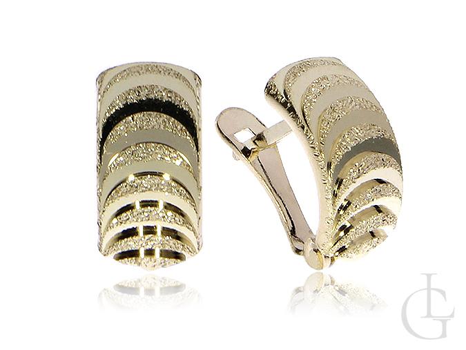 Kolczyki złote pr.0,585 angielskie zapięcia diamentowane wykończenie prezent