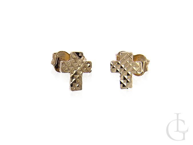 Złote kolczyki pr.0,585 diamentowane krzyżyki