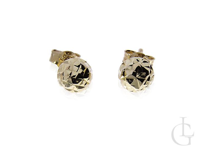 Kolczyki złote pr.0,585 diamentowane kuleczki