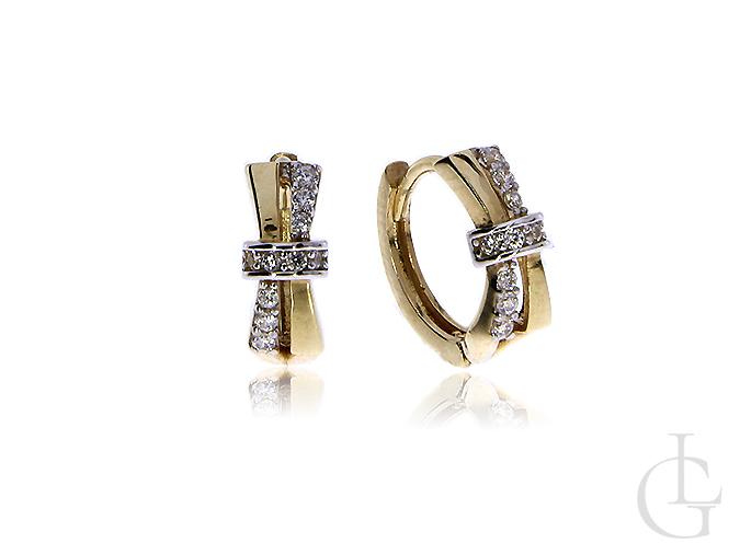 Kolczyki złote pr.0,585 kółeczka z kokardkami z cyrkonii