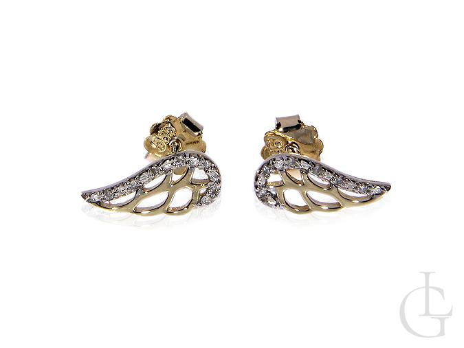 Kolczyki złote pr.0,585 na wkręty skrzydła z brylantami