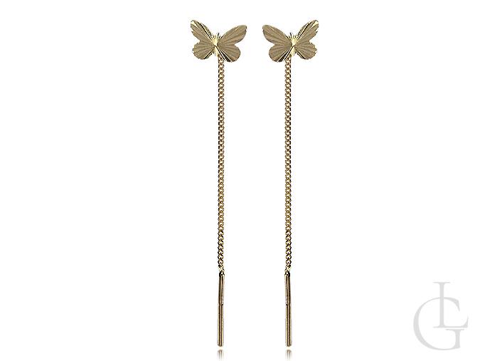 Kolczyki ze złota pr.0,585 łańcuszkowe na przeciąganie z motylkami