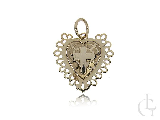 Medalik ze złota pr.0,585 w kształcie serca z krzyżykiem Komunia Święta, Chrzest