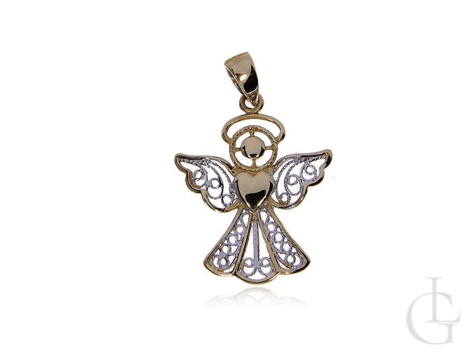 Wisiorek ze złota białego i żółtego pr.0,585 ażurowy aniołek