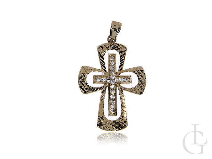 Krzyżyk ze złota pr.0,585 z cyrkoniami
