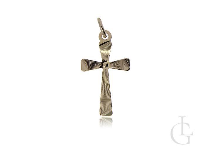 Krzyżyk ze złota pr.0,585 z diamentowaniem na Chrzciny, I Komunię Świętą, urodziny