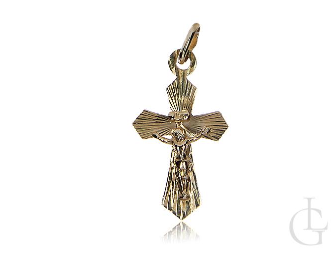 Krzyżyk z diamentowanymi nacięciami i wizerunkiem Jezusa złoto pr.0,585