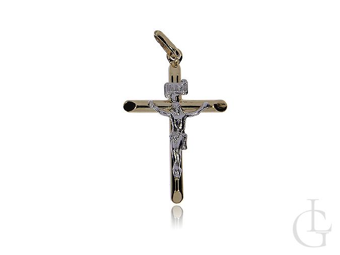 Krzyżyk ze złota klasycznego i białego na Komunię Świętą, chrzest