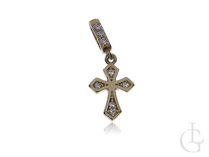 Delikatny krzyżyk z cyrkoniami złoto 14k na prezent