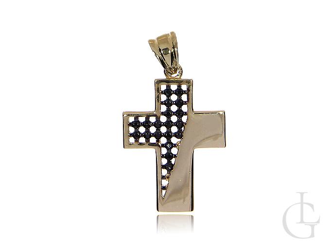 Krzyżyk ze złota pr.0,585 z czarnymi cyrkoniami