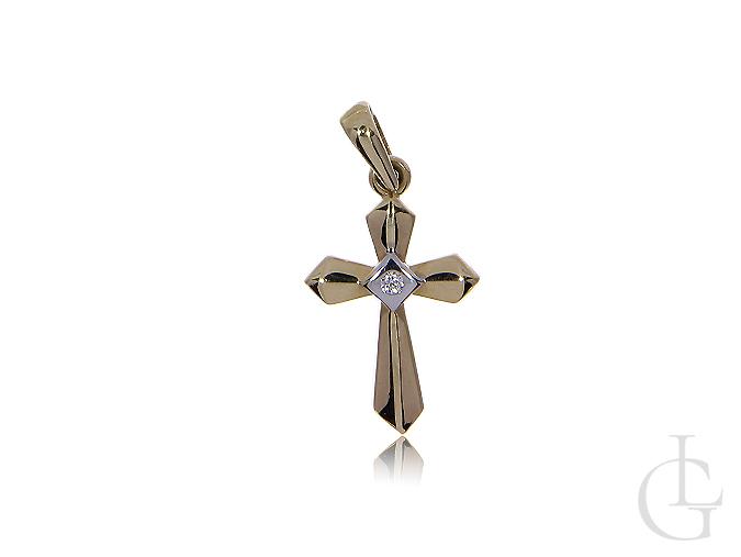 Krzyżyk ze złota pr.0,585 z cyrkonią na prezent I Komunia Święta, Chrzciny