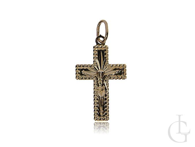 Złoty krzyżyk pr.0,585 z wizerunkiem Pana Jezusa diamentowany