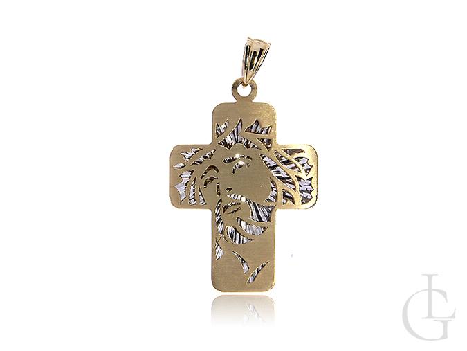 Złoty krzyżyk 3D z klasycznego i białego złota pr.0,585