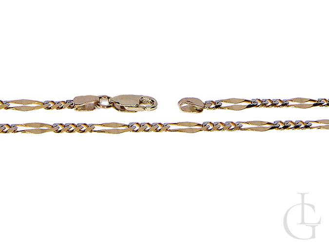 Ekskluzywny złoty łańcuszek złoto żółte białe pr. 0585 14K