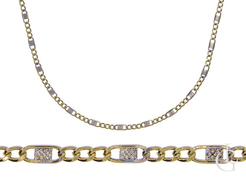 Łańcuszek złoty o splocie figaro białe żółte złoto pr.0,585