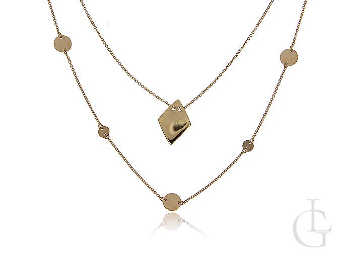 Podwójny naszyjnik ze złota pr.0,585- celebrytka z rombem i kółeczkami