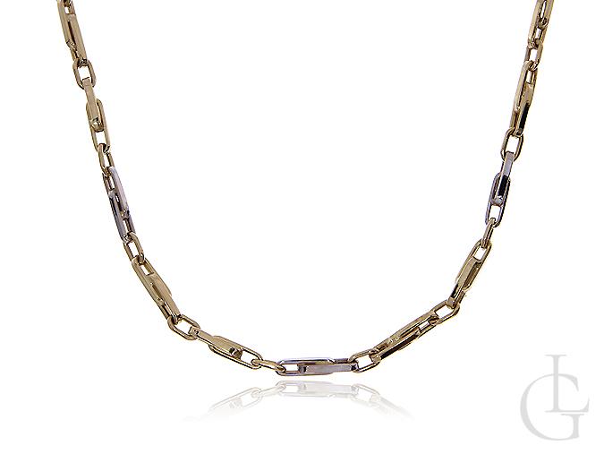 Łańcuszek z białego i klasycznego złota pr.0,585 o splocie spinacz