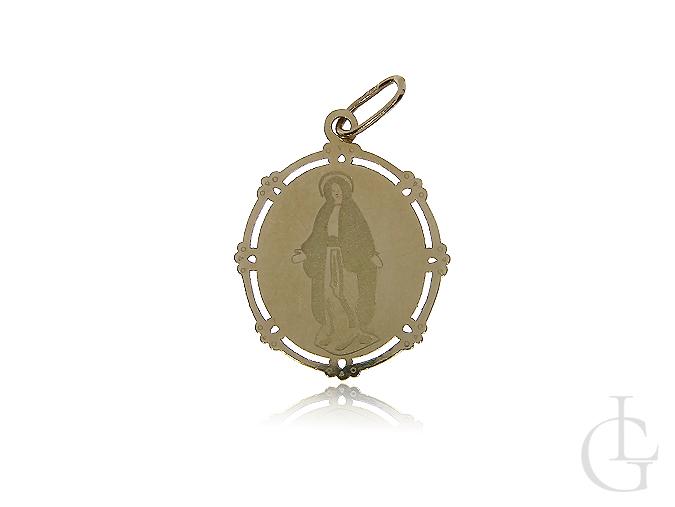 Medalik z Matką Bożą Niepokalaną złoto pr.0,585 I Komunia Święta, Chrzciny