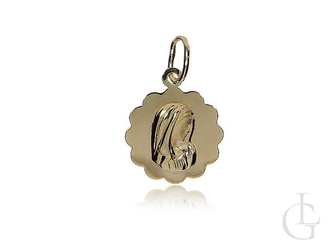 Złoty medalik z 14 ct kruszcu z Matką Bożą