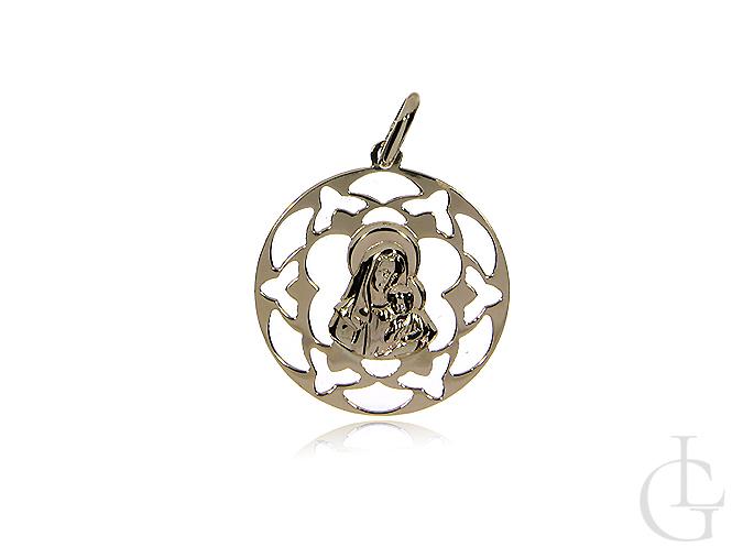 Ażurowy medalik z klasycznego złota pr.0,585 z Matką Bożą i Jezusem
