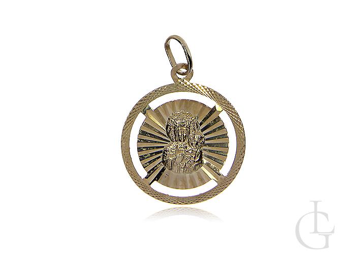 Medalik ze złota pr.0,585 z Matką Boską i Dzieciątkiem Jezus